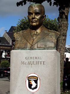 Bastogne Belgium: statue of General Mc Auliffe