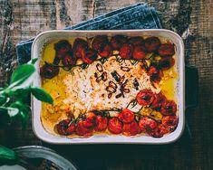 BAKED FETA PASTA – ORIGINAL RECIPE Tomato Pasta Bake, Cherry Tomato Pasta, Feta Pasta, Pasta Recipes, Dinner Recipes, Cooking Recipes, Baked Feta Recipe, Creamy Pasta, English Food