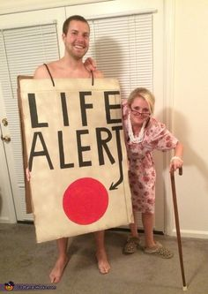 Old Lady and a Life Alert Couples Halloween Costume Idea