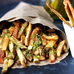 Dilly Pickle Fries. These fries are super crispy and coated with dill pickle seasoning, and best of all they are baked, not fried!