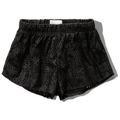 Abercrombie & Fitch Laser Cut Faux Leather Shorts ($20) ❤ liked on Polyvore featuring shorts, white, relaxed fit shorts, black shorts, abercrombie & fitch, relaxed shorts and patterned shorts
