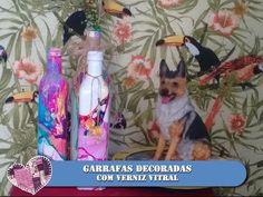 DIY - DECORANDO GARRAFA DE VIDRO COM VERNIZ VITRAL - MARMORIZAÇÃO -Antoniel Santos - YouTube