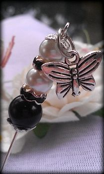 Black and White Silver Charming Pin