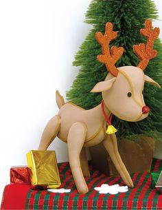 Descarga ya los Moldes GRATIS de este Reno en Foamy Goma Eva para decorar la navidad en tu hogar u oficina. Los Moldes a tamaño real en PDF.