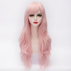 Towheaded Assorted Color Long Capless Synthetic Wave Side Bang Harajuku Lolita Wig For Women