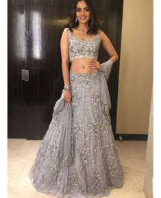 Beautiful Embroidered Net Lehenga with silk embroidered blouse.