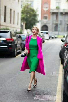 Green dress pink coat