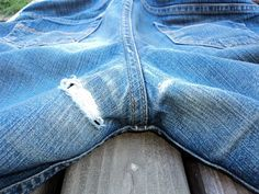 How to fix the inner thighs of your favorite old jeans! Oh do I need this!!!