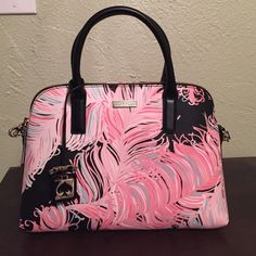 "HP NWT Kate spade bag NWT Kate Spade bag, the design is called brightwater drive. Absolutely gorgeous and very roomy. The inside has a one zipper along the side to put essentials like ID, credit cards and cash. The approximate dimensions are 9.5"" high 12"" length and 4.25"" wide. No trades. kate spade Bags"
