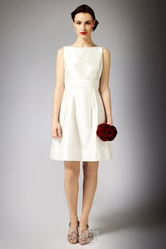 Ivory A-line Scoop Satin Knee-length Wedding Dress