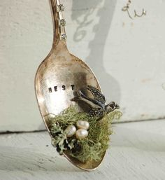 NEST Silver SPOON Decoration Vintage Silver Pearl Eggs BIRD Moss Nest Shabby Chic Decoration