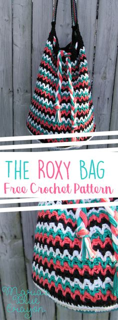 The Roxy Bag | Free Crochet Pattern | Spring/Summer Pull String Bag/Tote | Maria's Blue Crayon