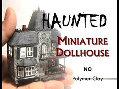 No polymer clay needed for this project. I used 3 coffee stirrers, 4 clothing tags, and 1 sheet of cardstock to make this miniature spooky dollhouse's dollho. Dollhouse Miniature Tutorials, Dollhouse Kits, Miniature Houses, Dollhouse Miniatures, Mini Houses, Haunted Dollhouse, Haunted Dolls, Haunted Halloween, Haunted Houses