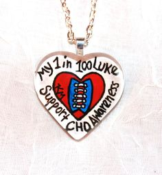 1 in 100 CHD Awareness Custom Hand Painted Pendant