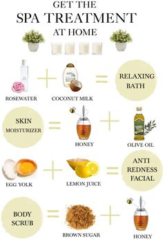 DIY Home Spa Treatment- in the right jars, these could be given as gifts for Christmas, birthdays, or to brides maids.