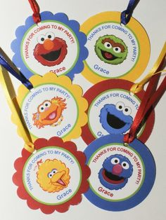 sesame street favor tags