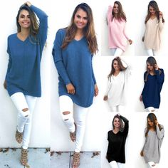 Women V Neck Sweater Jumper Oversized Baggy Long Sleeve Tops Pullover Sweatshirt  Price : 10.99  Ends on : 10 hours  View on eBay
