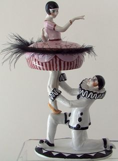 Art Déco - Poudrier de Table - Pierrot et une Ballerine - Céramique - Années 20