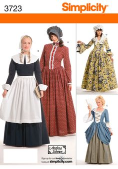 Misses Puritan, 18th Century, & Pioneer dresses...  We have the patterns for this!  I would love to have the burgundy one!
