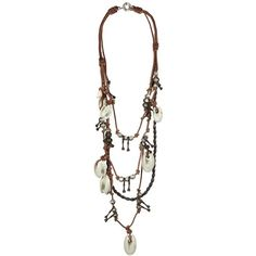 Akan Ceramic Necklac ($95) ❤ liked on Polyvore featuring jewelry, necklaces, accessories, necklesses, women, beaded jewelry, bead necklace, ceramic bead necklace, beading jewelry and leather cord necklace