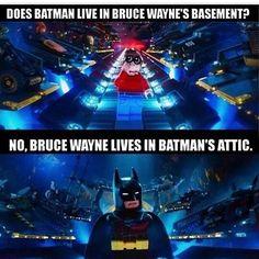 In a way it was quite true. Batman spend most of his time in Batcave rather tha - Batman Funny - Ideas of Batman Funny - In a way it was quite true. Batman spend most of his time in Batcave rather than mansion lol I Am Batman, Lego Batman Movie, Lego Batman Memes, Funny Batman, Batman Logo, Batman Humor, Lego Jokes, Batman Stuff, Superhero Movies