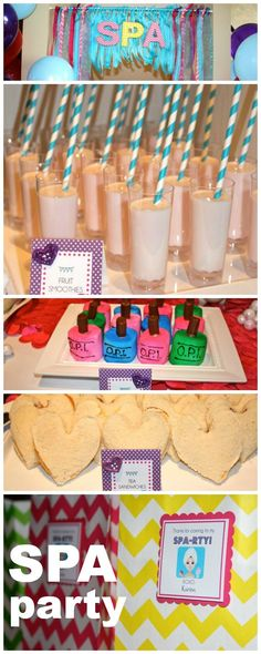 Spa birthday party - cute nail polish treats. Looks like marshmallows?