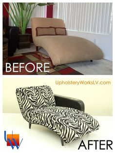 Before after with custom arm chaise lounge by Upholstery Works. Las Vegas, NV http://www.UpholsteryWorksLV.com