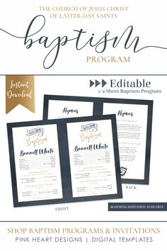 Save time preparing for your son's baptism with this classic baptism program! Your information can easily be added by you! Download & print today!  Click to view this baptism program and a matching invitation now!  #baptismprogam #LDSbaptism #boybaptism #LDSprintable #ldsbaptismprogram #LDSbaptisminvitation #printableprogram #editablebaptism #boybaptismprogram Baptism Announcement, Birth Announcement Template, Lds Baptism Program, Heart Designs, Photoshop, Boy Baptism, Program Template, Baptism Invitations, Text Color