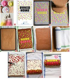 Bake a message on a delicious chocolate roll cake to make it truly special, then fill it with a creamy, cherry-flavored marshmallow filling. Cake Roll Recipes, Delicious Cake Recipes, Fun Baking Recipes, Fondant Cakes, Cupcake Cakes, Cupcakes, Ice Cream Varieties, Swiss Roll Cakes, Swiss Cake