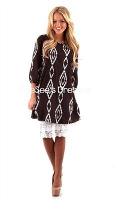 Aztec Print Bow Back Dress, Modest Dresses, Church Dresses, lds, lds clothing, skirt extender, chevron, chevron print, aztec, aztec print dress, lace skirt extender, plum chevron, dark teal chevron, dresses for church, trendy modest clothing