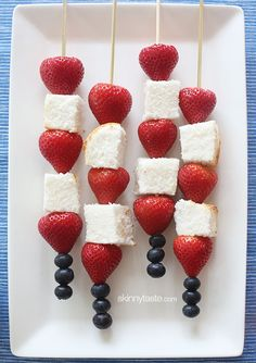 Red White and Blue Fruit Skewers with Cheesecake Yogurt Dip | Skinnytaste  cream cheese, yogurt, vanilla, and sugar, angel food cake, strawberries, and blueberries
