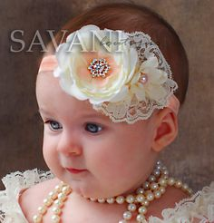Peach and ivory baby headband, shabby chic roses headband, newborn head band, headbands