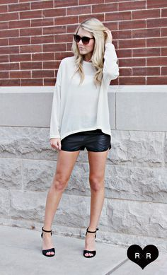 Chunky Sweater and Faux Leather shorts are an essential!