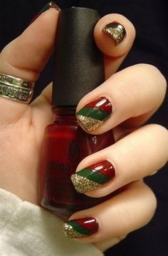 Go for an elegant Christmas nail art design like this. Using deep red and green polish and adding gold glitter to the tips can easily turn your nails into something really classy.