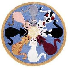 Circle of cats rug. [I want one of these but can't find it anywhere! -w]