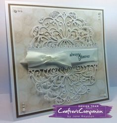 "8"" Tent Fold Card  made using Crafter's Companion Die'sire Decorative Create a Card – Elizabeth. Designed by Jane Royston. #crafterscompanion"