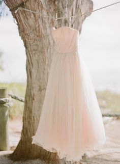 Amazing pale pink wedding dress // via Every Last Detail, photos by @Jessica Lorren