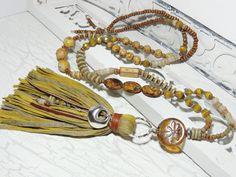 Charm- & Bettelketten - Lange Kette - GLAS - MUSCHEL - KERAMIK - DRAGONFLY - ein Designerstück von Kunterbuntes-Perlenspiel bei DaWanda