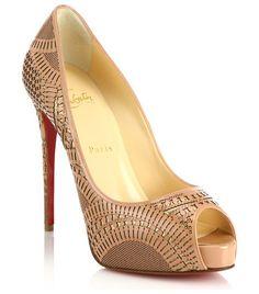 CHRISTIAN LOUBOUTIN Suellena laser-cut leather peep-toe pumps found on Nudevotion