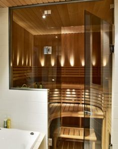 Sauna – a nice private spa area in the bathroom Portable Steam Sauna, Sauna Steam Room, Sauna Room, Home Spa Room, Spa Rooms, Narrow Bathroom, Bathroom Spa, Hall Bathroom, Saunas