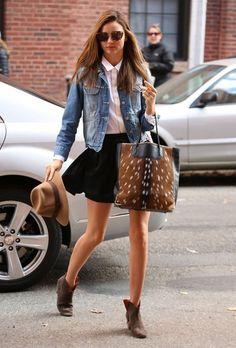 Miranda Kerr style   Denim jacket, button-up blouse, skirt, ankle boots, deer-fur purse