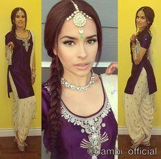 Purple and white color combo , salwar kameez - Bambi Bains Punjabi Salwar Suits, Designer Punjabi Suits, Punjabi Dress, Patiala Suit, Punjabi Girls, Indian Suits, Indian Dresses, Indian Wear, Indian Style