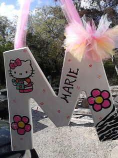 Painted wooden letter hello kitty!