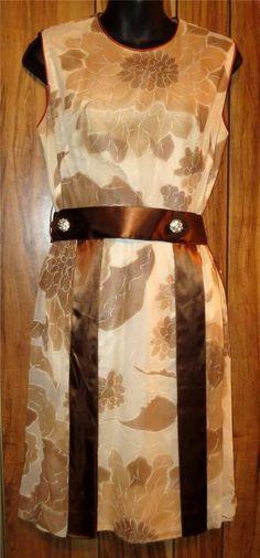 Vintage Gemini Fashions Chiffon & Silk Brown Floral Dress W/Belt Size Medium  Now $12.87