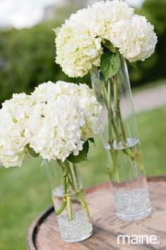 centerpiece idea - simple and pretty, DIY - many friends with hydrangeas in their gardens; also could substitute with peonies.