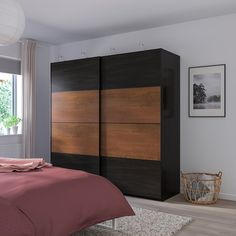 IKEA - PAX Wardrobe black-brown stained ash effect, Mehamn effect Pax System, Living Room Tv Cabinet, Ikea Living Room, Living Rooms, Malm, Pax Planer, Wardrobe Systems, Plastic Shelves