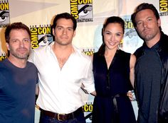 I am a very calm and dignified person today, hardee-har-har. Zack Snyder, Henry Cavill, Gal Gadot, Ben Affleck at SDCC 2014.