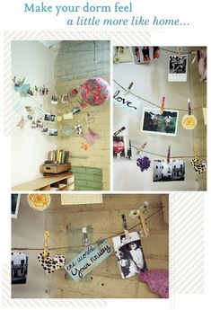 DIY cool dorm decor for walls you can't paint. :) - Twine  - Clothespins  - Mod podge  - Paintbrush  - Magazine clippings  - Structured paper  - Fabric scraps