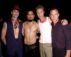 Perry Farrell, Dave Navarro, Eric Avery and Stephen Perkins of Jane's Addiction pose backstage at the MTV 20th Anniversary party at the Hammerstein Ballroom in New York on August 1st, 2001.