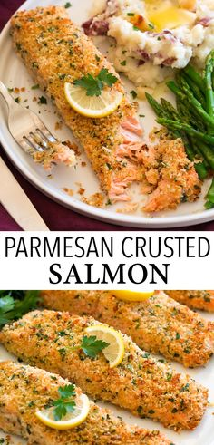 Salmon Dishes, Fish Dishes, Seafood Dishes, Seafood Recipes, Cooking Recipes, Fish Recipes, Parmesan Crusted Salmon, Panko Crusted Salmon Recipe, Oven Baked Salmon